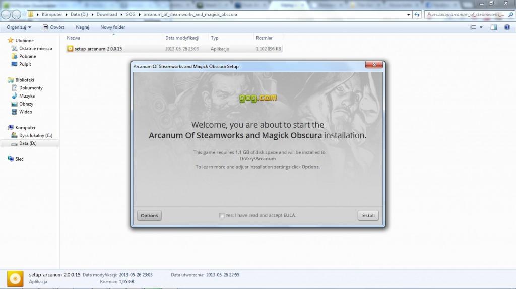 Instalacja Arcanum - wersja z GOG.com