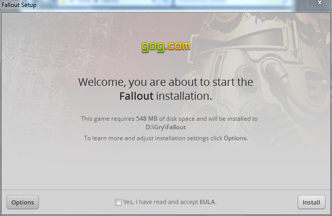Fallout - okno instalatora