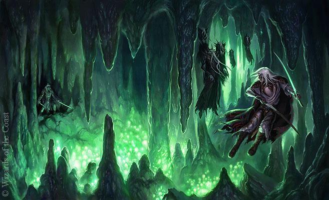Tytułowy mroczny elf w akcji. ©Wizards of the Coast Used by permission. Adres portfolio autora po kliknięciu.