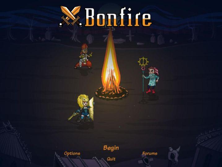 Bonfire - główne menu