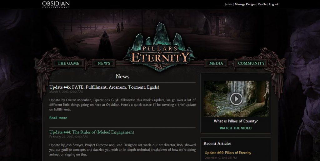 Project Eternity, Pillars of Eternity, Backer Portal