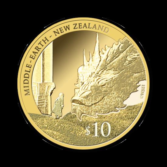 Hobbit pamiątka złota moneta Smaug Bilbo