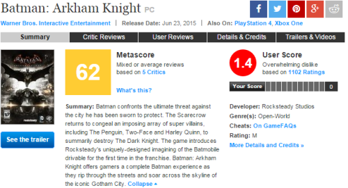 Arkham Knight Metacritic
