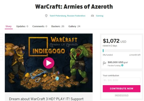 WarCraft Armies of Azeroth Indiegogo