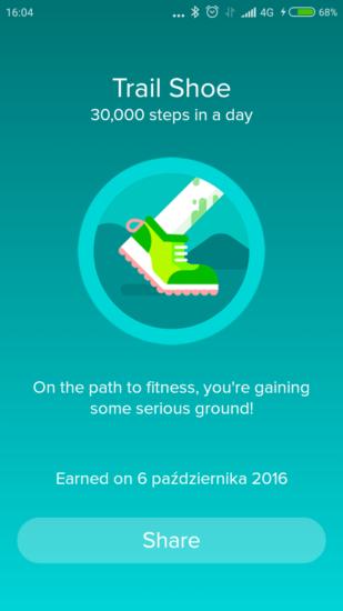 Fitbit osiągnięcie 30000 kroków