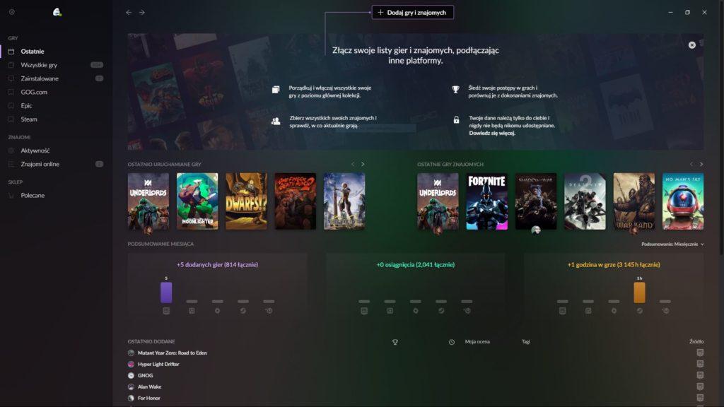 GOG Galaxy 2.0 - ekran główny