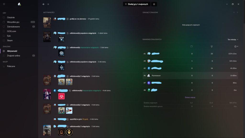 GOG Galaxy lista znajomych