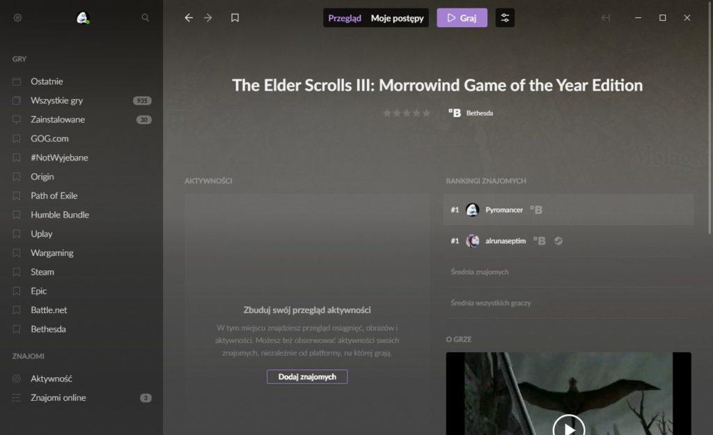 Demonstracja Morrowind i Bethesda Launcher na GOG Galaxy