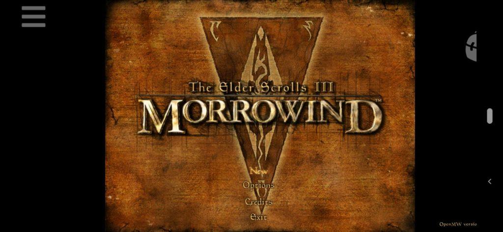 Logo i Menu główne Morrowind na Androida