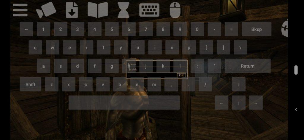 Morrowind na Androida - demostracja wirtualnej klawiatury