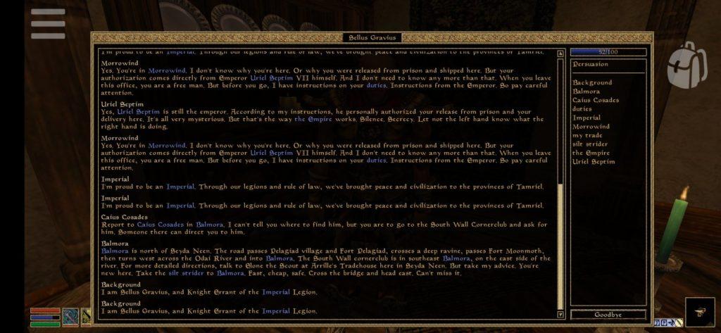 Morrowind na Androida - wybieranie opcji dialogowych
