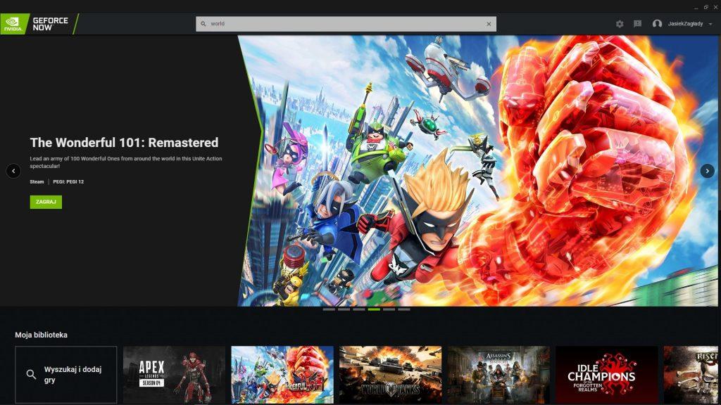 GeForce Now Main menu