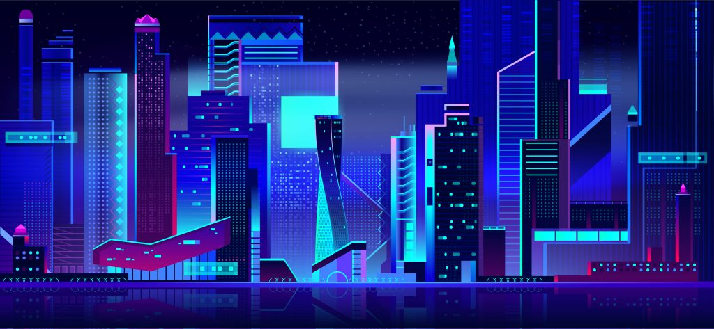 Night city in neon lights. Futuristic cityscape panoramic view background with glowing illumination. Modern town buildings exterior architecture in blue and purple colors. Cartoon vector illustration.